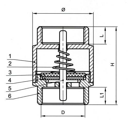 Схема пружинного обратного