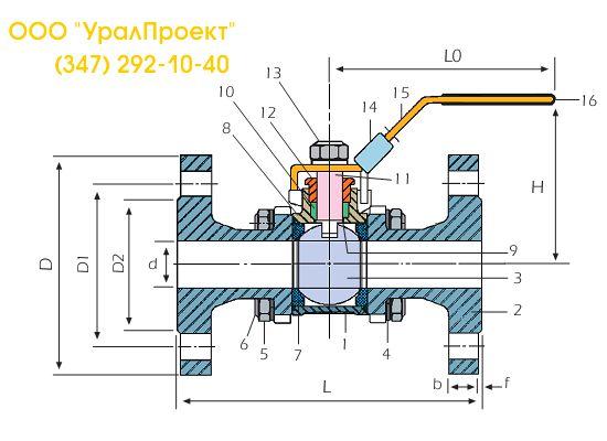 V-3F чертеж (схема) фланцевого